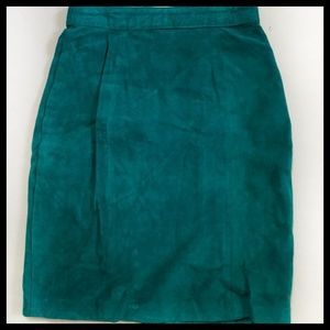[The Limited]Santa Fe Green Leather Suede Skirt 2